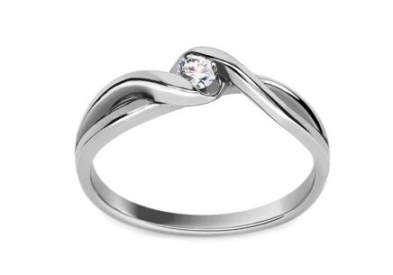 Bague de fiançailles avec brillant 0.080 ct Loving moments white