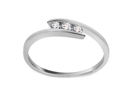 Bague de fiançailles avec brillants 0.110 ct Triple of love white