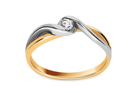 Bague de fiançailles en or avec diamant 0.070 ct Loving moments