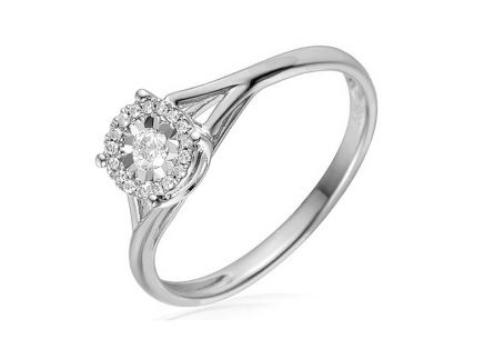 Bague de fiançailles en or avec diamants 0.12 ct Taria white
