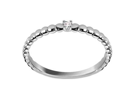 Bague de fiançailles minimaliste en or blanc et diamants 0.020 ct